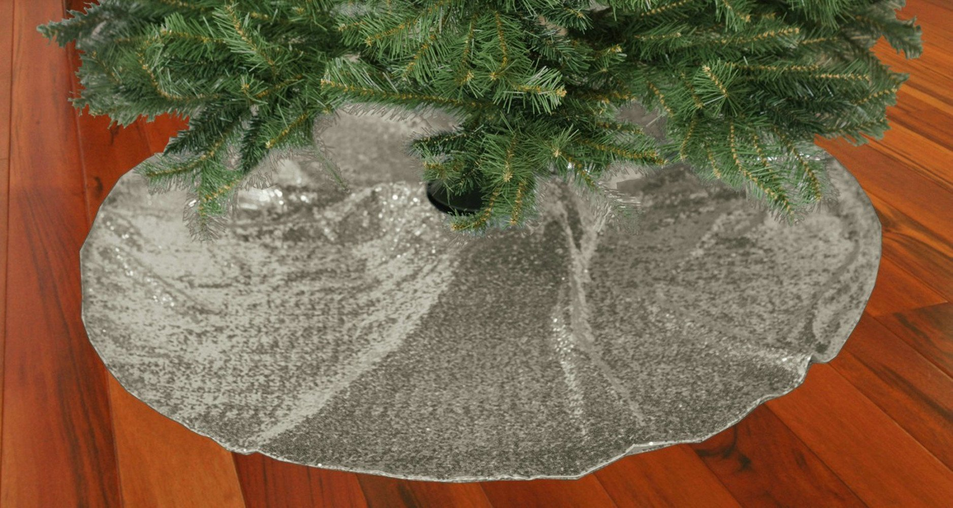 TRLYC 50-Inch Round Embroidery Sequin Christmas Tree Skirt --Sparkly Silver