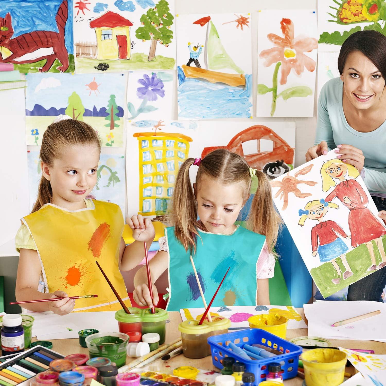 4 Piezas de Delantal de Arte para Ni/ños Bata Pintura Impermeable de Artista Babero de Pintura para Ni/ños Rosa, Azul Helado, Morado, Dorado 4 Colores