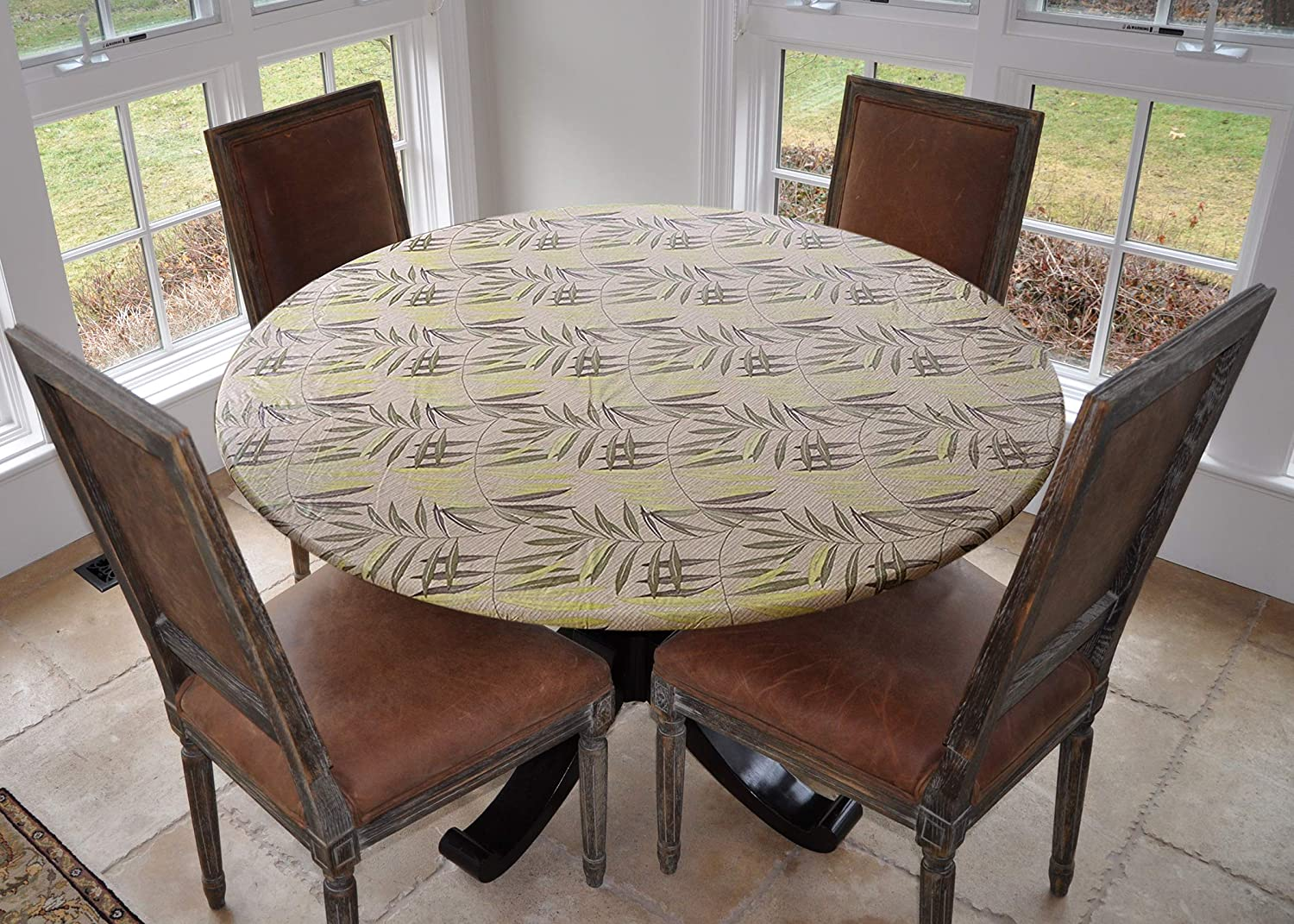 """Covers For The Home Deluxe Elastic Edged Flannel Backed Vinyl Fitted Table Cover - Fern Pattern - Large Round - Fits Tables up to 45"""" - 56"""" Diameter"""