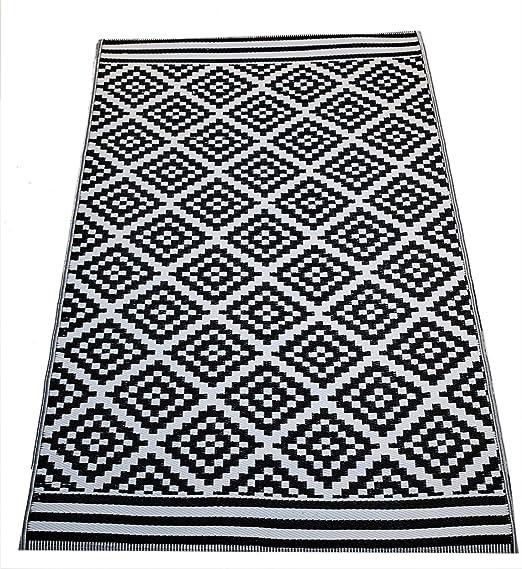 Josefine Josefine alfombras de plastico alfombra resistente exterior negro terraza rug: Amazon.es: Jardín