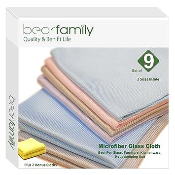 7d12f9473fd Amazon.com  Bear Family Microfiber Glass Cleaning Cloths - Lint Free ...