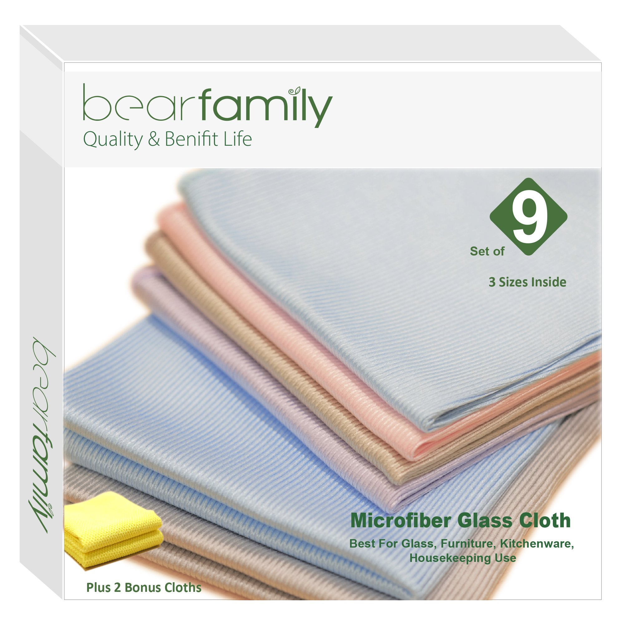 Bear Family Microfiber Glass Cleaning Cloths - Lint Free - Streak Free | Quickly and Easily Clean Windows & Mirrors Without Chemicals with 2 bonus Cloth Pack of 11, Mix color