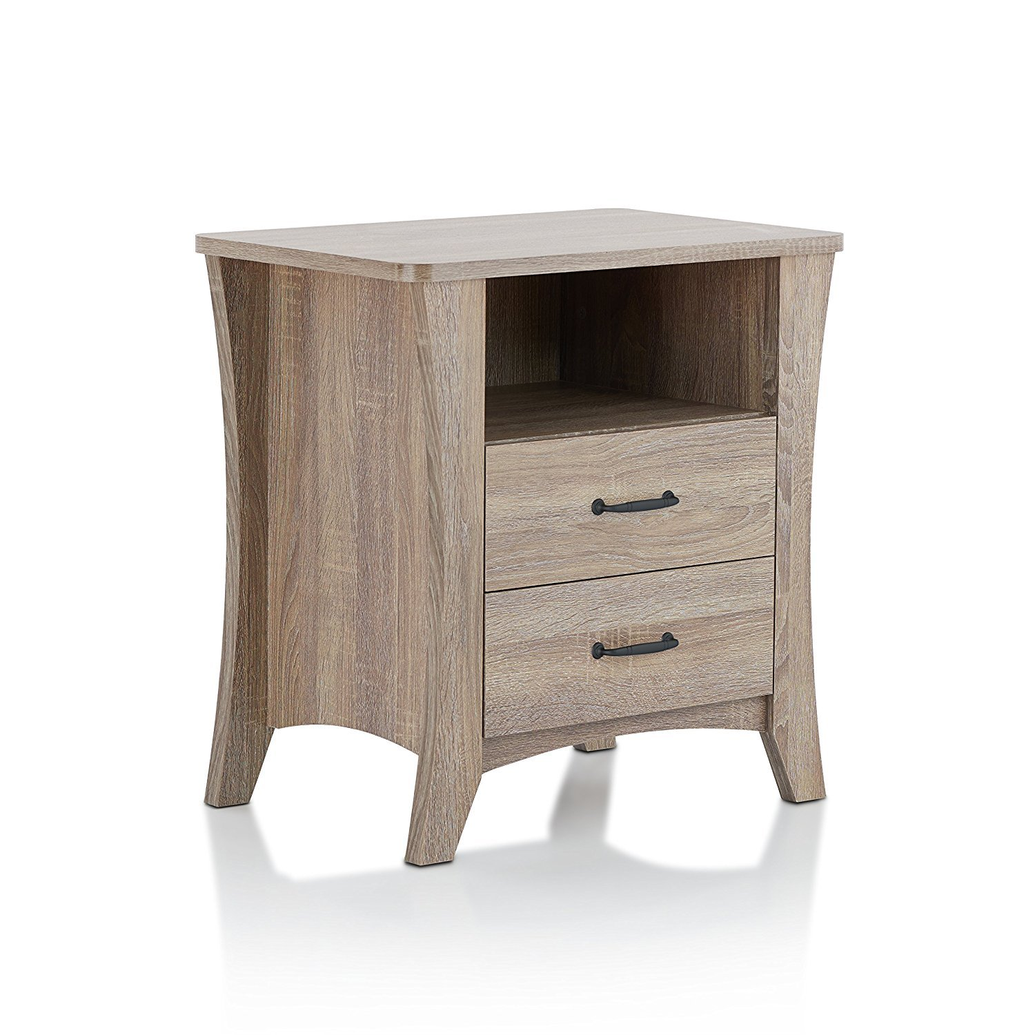 Major-Q Contemporary Rustic 2 Drawer Nightstand Natural Finish (MQ-97262)