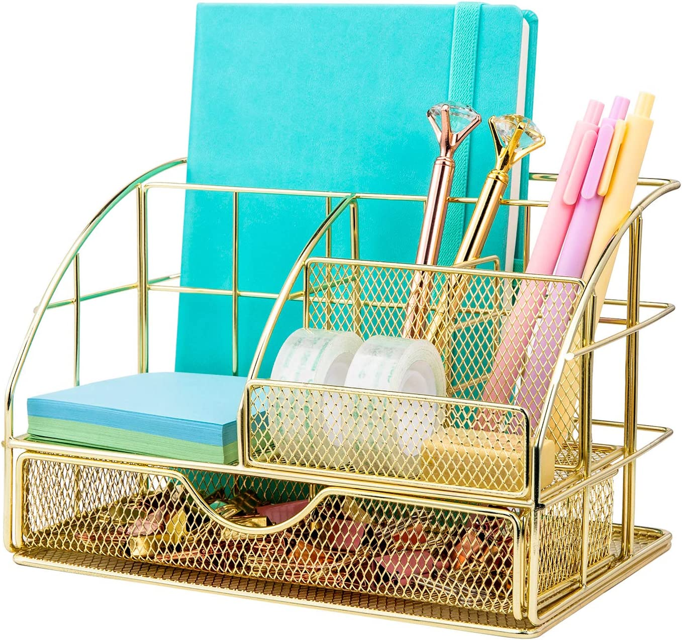 Upgraded Desk Organizer for Women, Cute Mesh Office Supplies Accessories Essentials Caddy with Drawer for Home & Office Desktop Organization & Decor, Gold