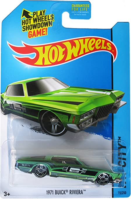 Hot Wheels 2015 Hw City 1971 Buick Riviera Green Die Cast Vehicle 15 250 Toys Games
