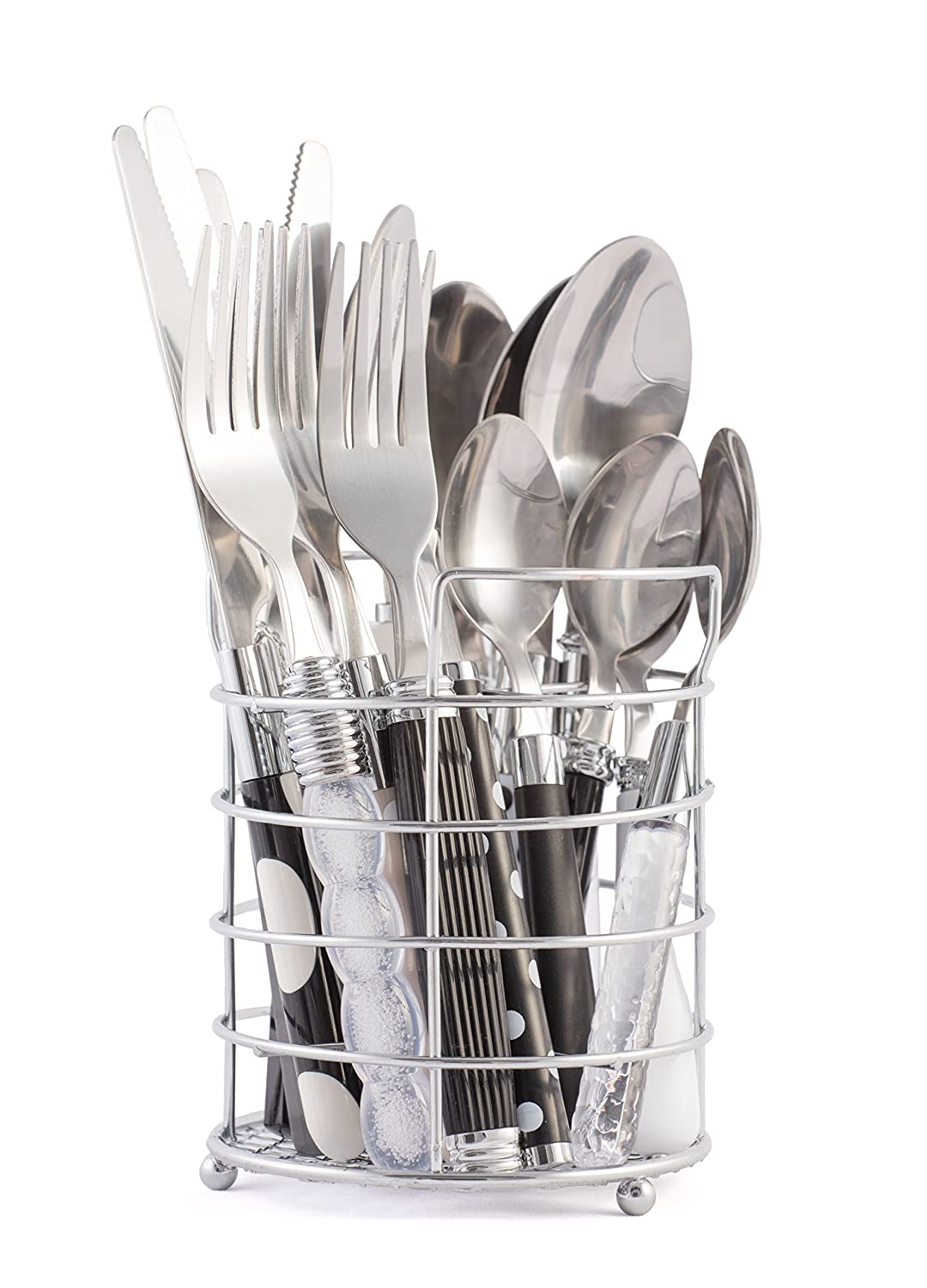 Gypsy Color Mix and Match Lifestyle Cutlery and Eating Utensils Gift Set of 16 pieces, Colorful Flatware Set Crystal Clear, Black, Grey and White SYNCHKG111644