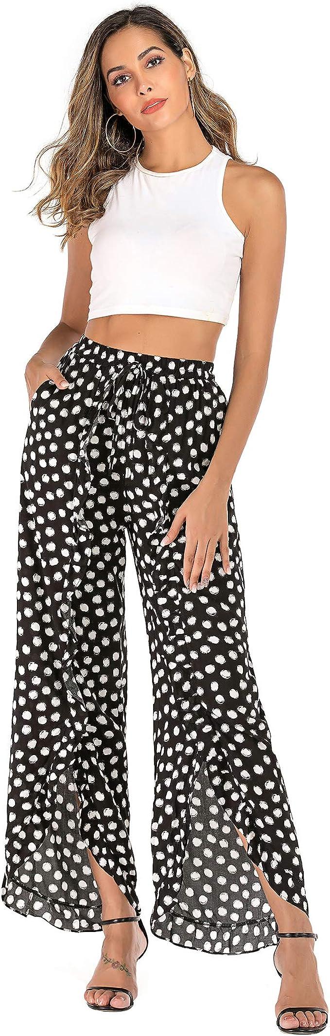 Women/' Pants Casual Loose Solid Lace Wide Leg Bottom Trousers Boho Hippie Lounge Palazzo High-Waist Pants