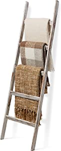 Short Birds Rustic 5ft Blanket Ladder - Farmhouse Home Decor - Quilt/Towels/Throw Wood - Decorative Shelf - Easy Assembly - Leaning - Padded - Distressed White