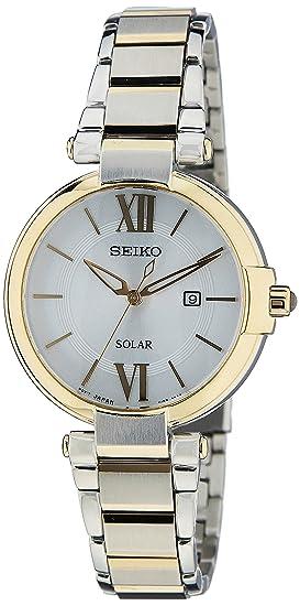 Seiko Reloj Analógico para Mujer de Energía Solar con Correa en Acero Inoxidable SUT154P1: Amazon.es: Relojes