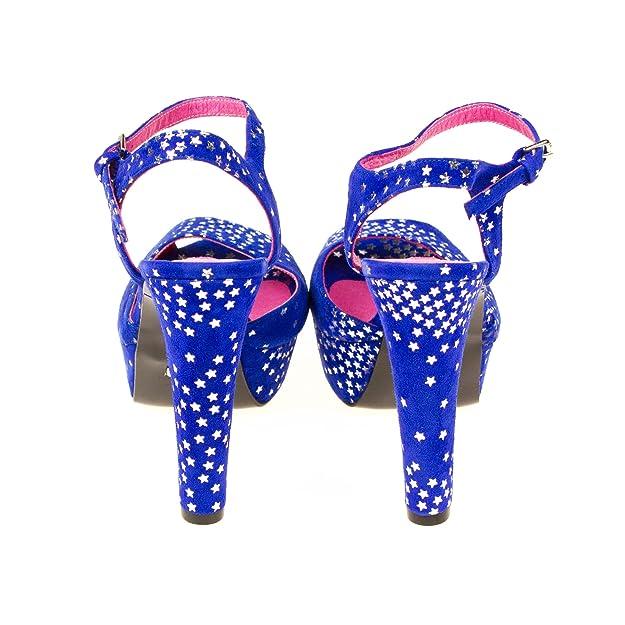 e7f1fa6405d424 Buffalo Damen Pumps Sandalen Wildleder Blau mit Silbernen Sternen ...