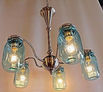 glass jar lighting square mason jar lighting light brushed nickel chandelier with blue mason jar glass