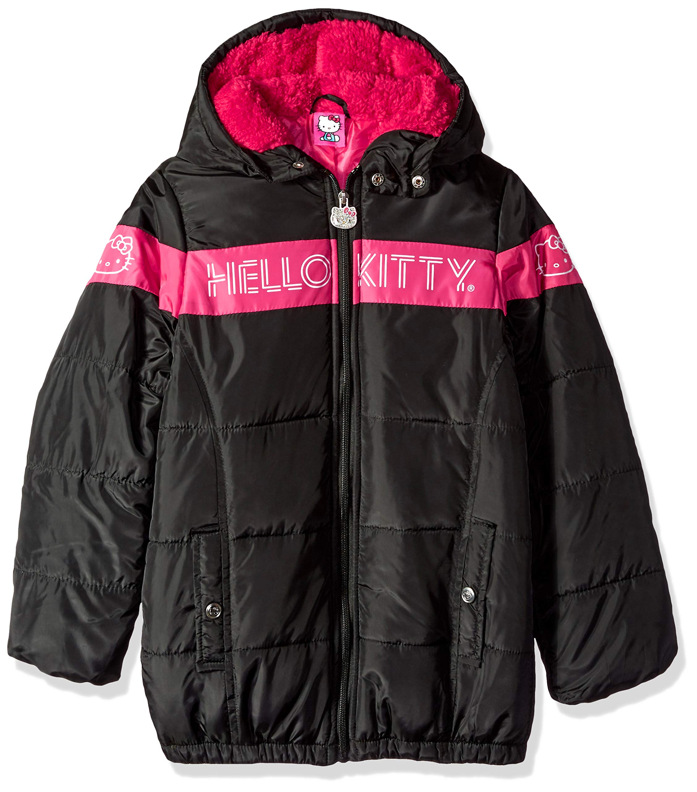 Hello Kitty Big Girls Puffer Jacket with Hood, Black/Pink, 12 by Hello Kitty