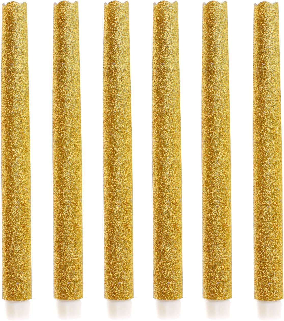 9 Set Of 6 Flameless Led Taper Candles With Timer Battery Operated Candle With Gold Glitter For Wedding Halloween Christmas Decoration Amazon Co Uk Kitchen Home