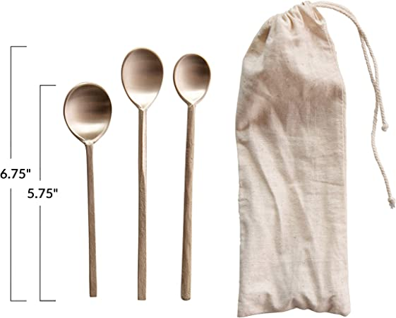 Set of 2 Creative Co-Op Brass Hand-Forged Salad Servers