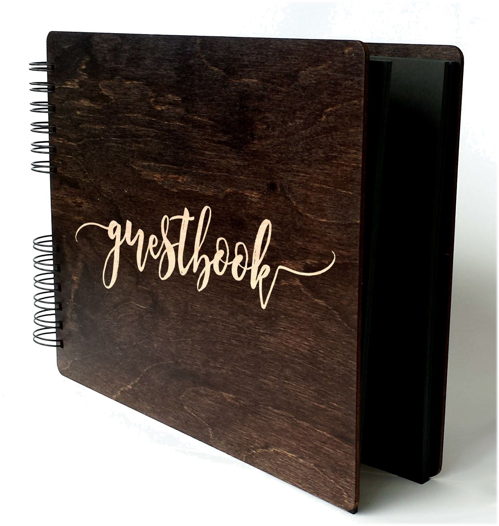 Wooden Rustic Guest Book 11'' x 8.5'' : Made in USA (All Black Cardstock Inside Pages, Front Cover GUESTBOOK Engraved) by Personalize It (Image #4)