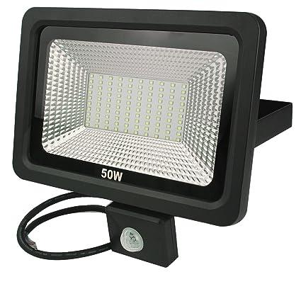 RPGT 50W Blanco Cálido Delgado Luz Proyector LED Foco proyector, con iluminación LED y PIR