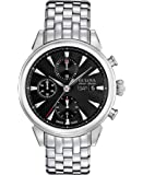 Bulova Accu Swiss Gemini Men's Automatic Watch with Black Dial Chronograph Display and Silver Stainless Steel Bracelet 63C113