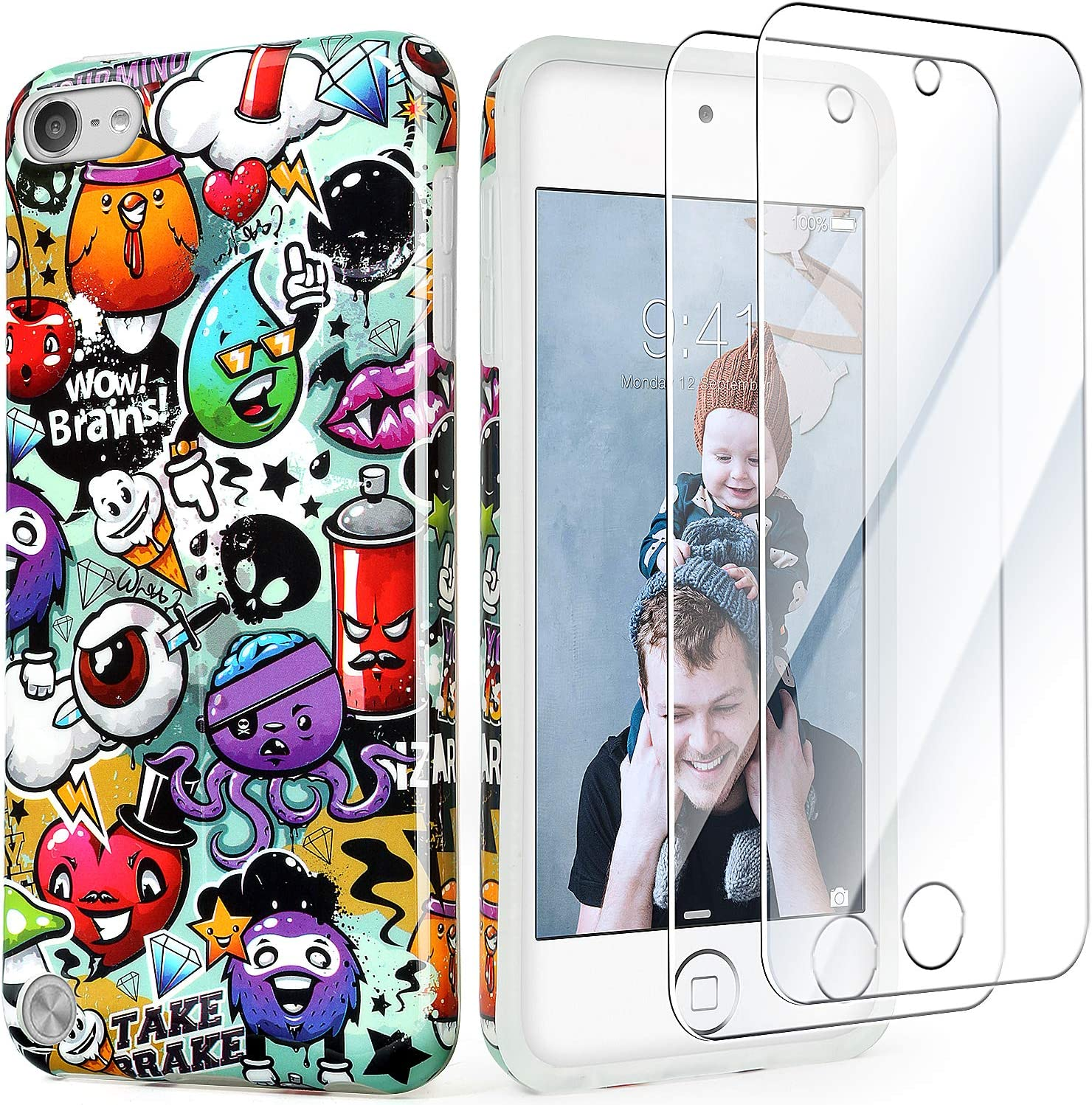 iPod Touch 7th Generation Case with 2 Screen Protectors, IDWELL Slim FIT Anti-Scratch Flexible Soft TPU Bumper Protective Case for iPod Touch 5/6/7th, Graffiti Art