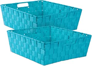 """DII 5893 Durable Trapezoid Woven Nylon Storage Bin or Basket for Organizing Your Home, Office, or Closets (Tray - 13x15x5"""") Teal - Set of 2"""
