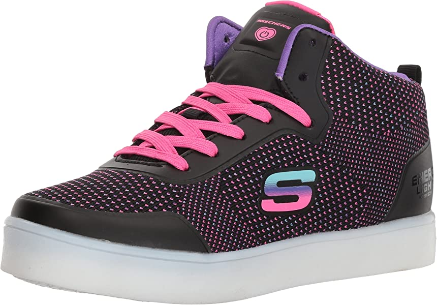 Skechers Girls' Energy Lights Knit Glitz Hi Top Trainers