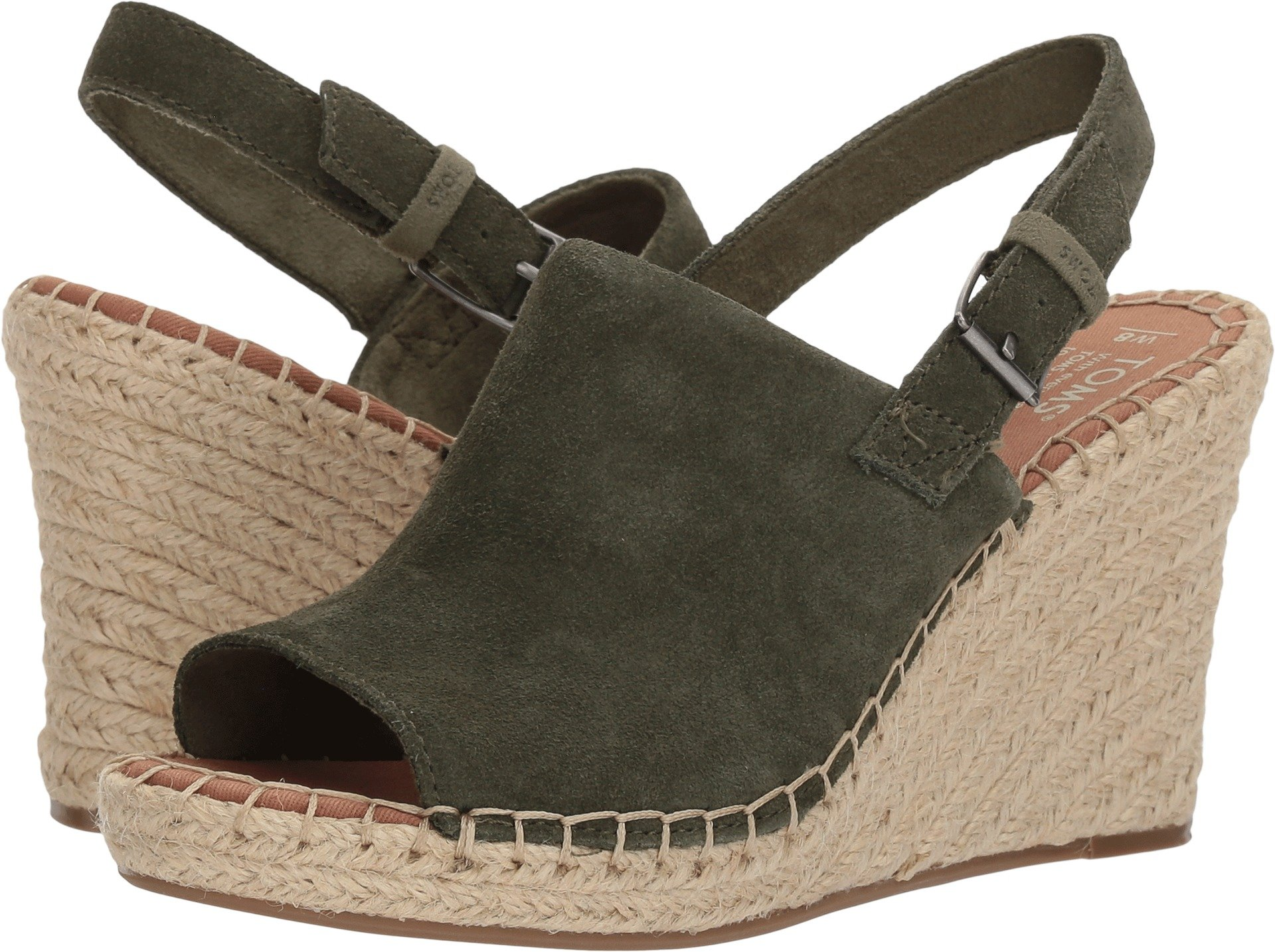 TOMS Women's Monica Pine Suede Wedge Sandals (11 B(M) US)