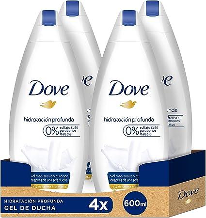 Dove Gel de ducha Hidratación profunda - Pack de 4 x 600 ml (Total ...