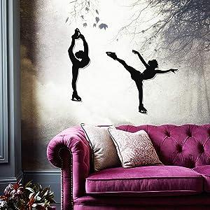 Tamengi 2 Ice Skaters Metal Wall Decor, Ice Skating Figures, Home Decor, Girls Room Wall Art, Kids Room Wall Decor, Wall Decoration Sign