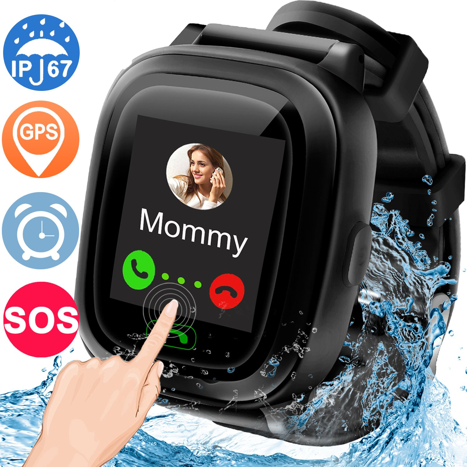 GBD 1.22'' Waterproof IP67 GPS Tracker Smart Watch Phone for Kids Boys Girls with SOS Sim Slot Alarm Electronic Learning Toys Wrist Watch Sport Travel Camping Outdoor Birthday Gifts (Black)