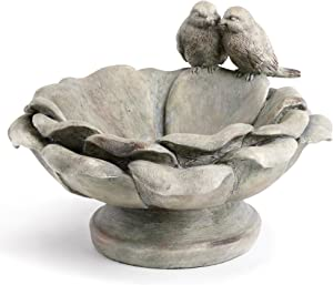 Napco Birds Perched Patina Grey 9 x 6 Inch Resin Decorative Indoor Outdoor Garden Bird Bath