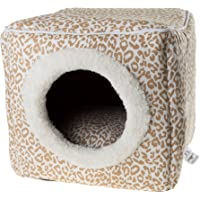 (tan/whiteanimalprint) - Cat Pet Bed Cave- Indoor Enclosed Covered Cavern/House for Cats Kittens and Small Pets with Removable Cushion Pad by PETMAKER