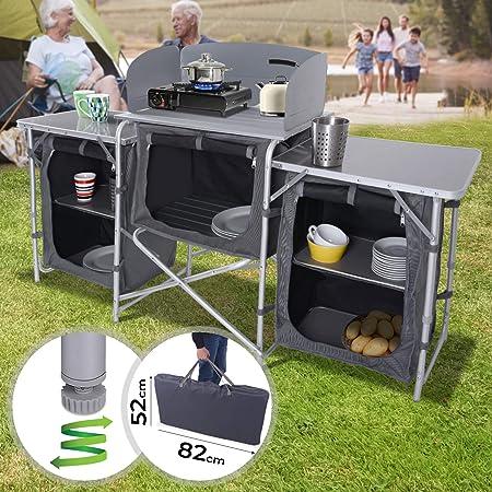 MIADOMODO Armario Cocina Camping Plegable - con 5 Compartimentos de Almacenaje, 165x104x52cm - Mueble Cocina Camping, Armario Cocina Plegable, ...