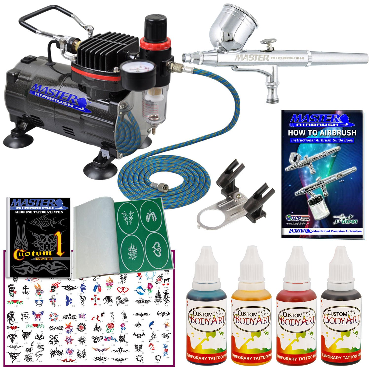 Master Airbrush Tattoo System. Master G22 Airbrush, Air Compressor, 100 Tattoo Stencils, 6' Air Hose, 4 Color Temporary Tattoo Ink in 1-oz Bottles Includes a How to Airbrush Training Book by Master Airbrush
