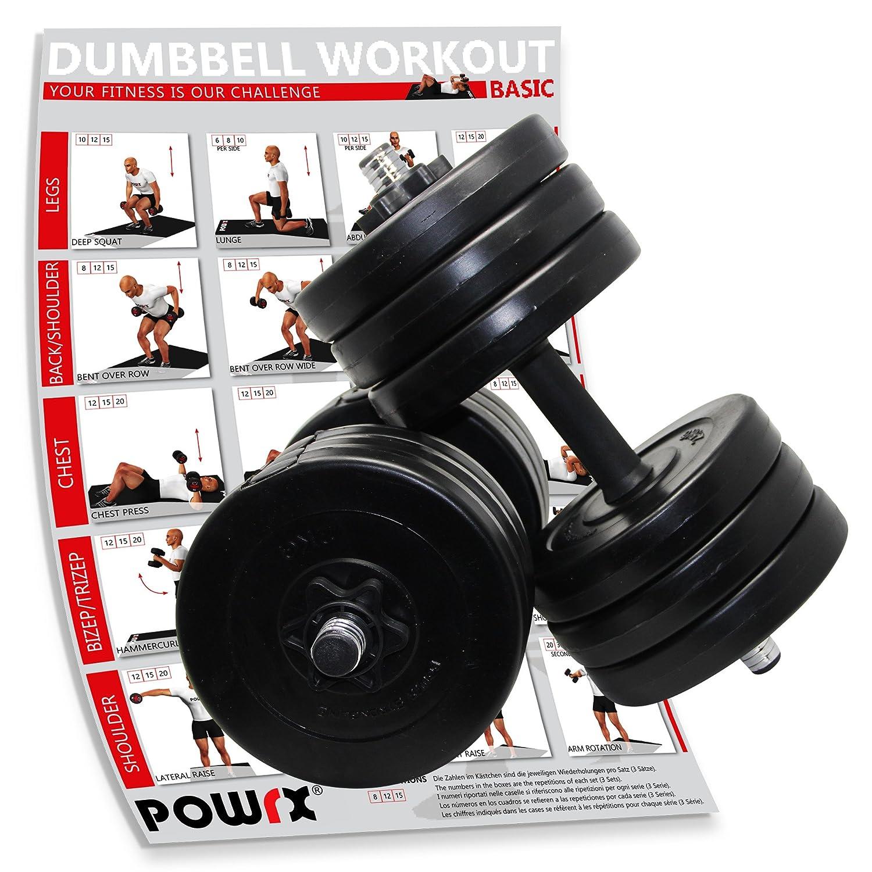 POWRX 2 x 15 kg + PDF Workout Mancuernas Hierro Fundido 30 kg Set Negro