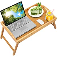 Bed Tray Table with Folding Legs,Serving Breakfast in Bed or Use As a TV Table, Laptop Computer Tray, Snack Tray with…