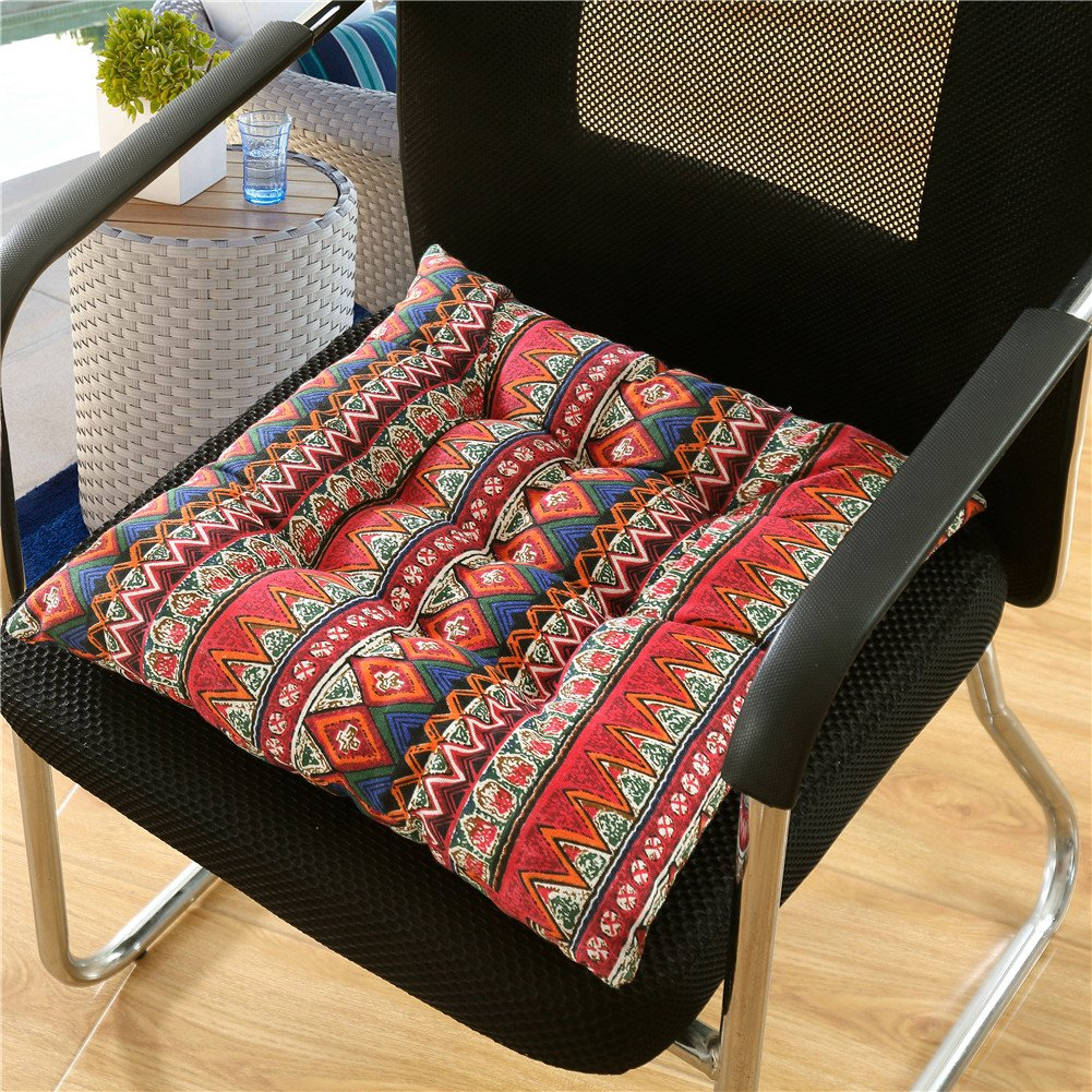 Zhiyuan Bohemian Style Reversible Linen Seat Cushion Chair Pad, Blue ZD170010I