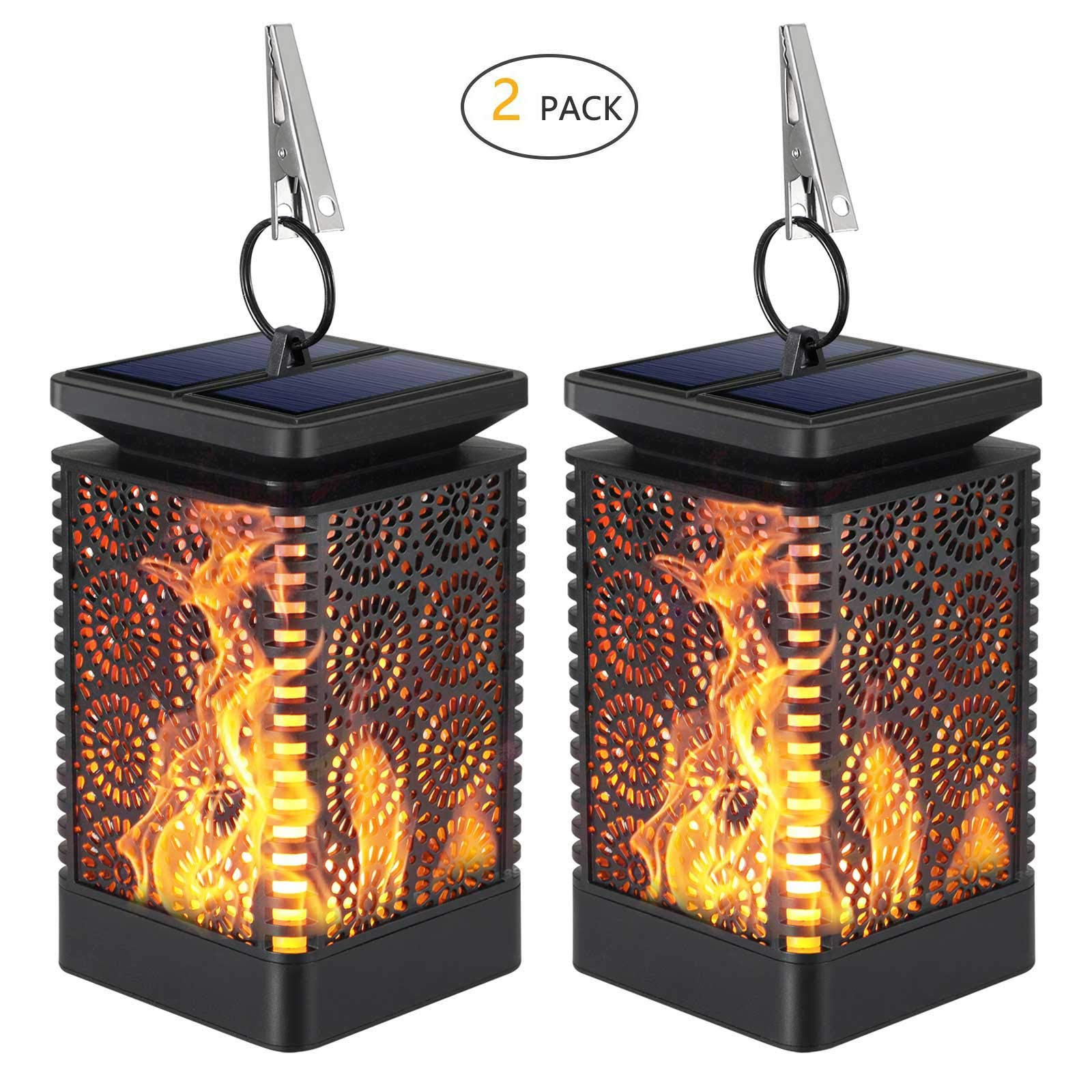 Solar Lantern Outdoor Lights,KINGCOO Dancing Flames Lights Waterproof Hanging Lanterns Solar Yard Lights Auto On/Off Lighting Dusk to Dawn 99 Bright LED for Garden Decor (2 Pack) by KINGCOO