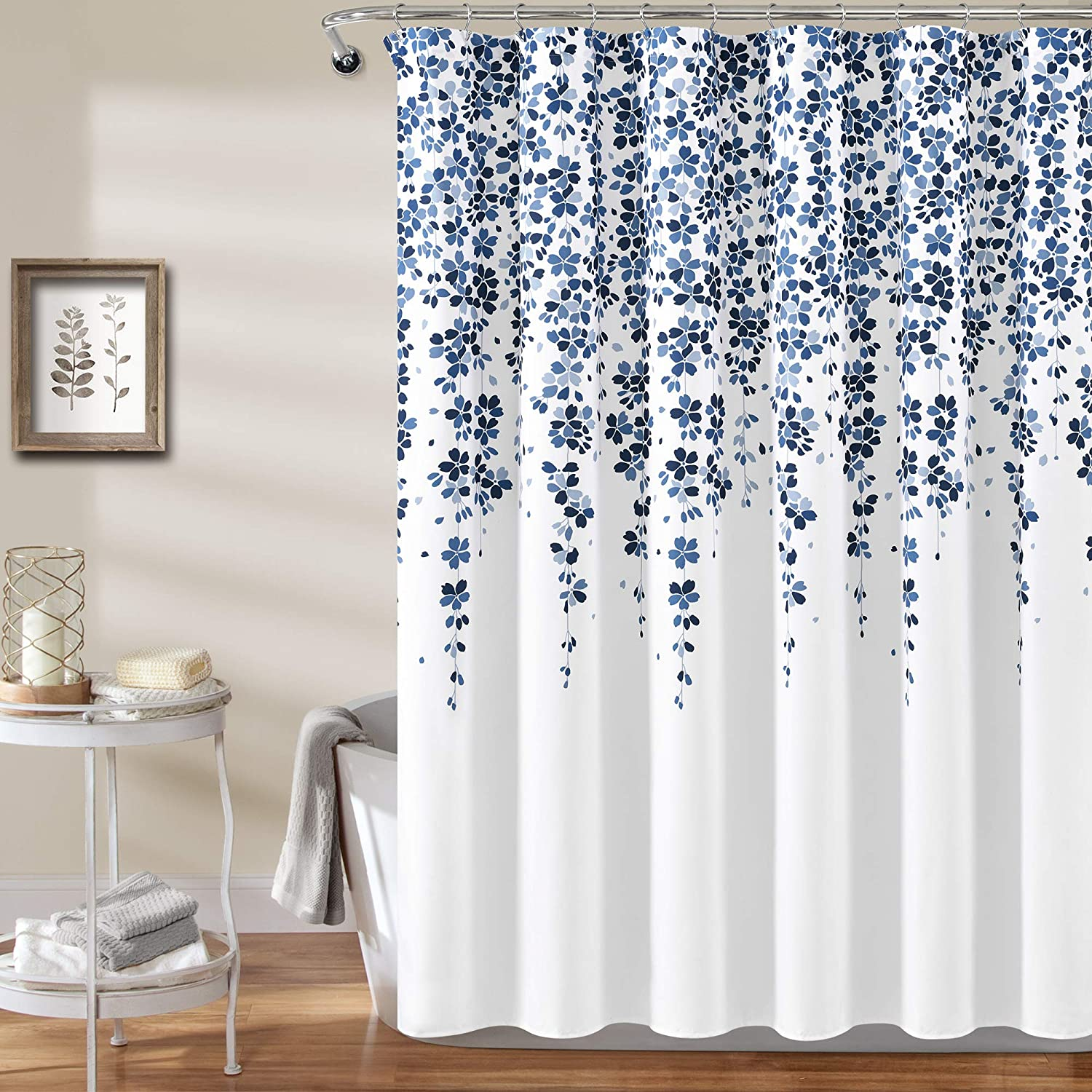 "Lush Decor Weeping Flower Shower Curtain - Fabric Floral Vine Print Design, 72"" x 72"", Navy and Blue"