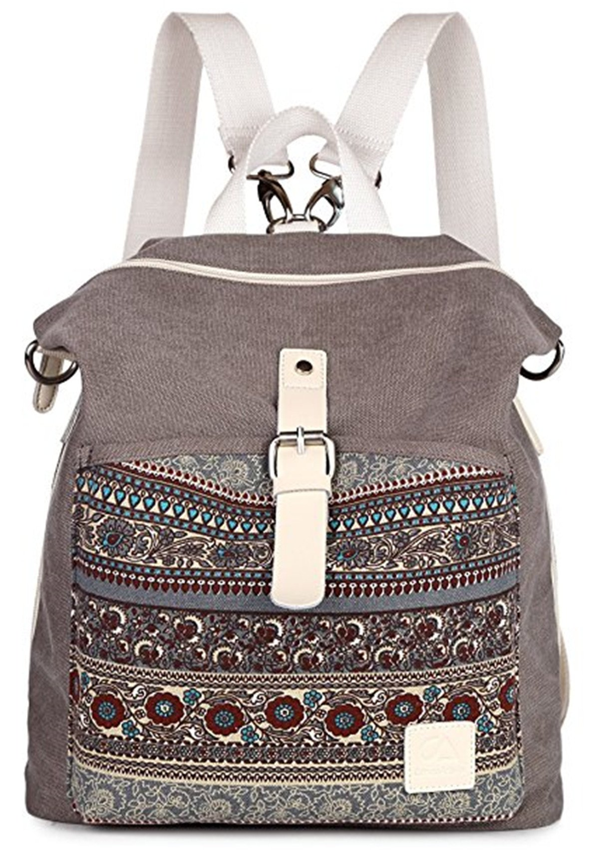 LittleBear Women Girl Backpack Purse Canvas Rucksack Shoulder Bag (Grey)