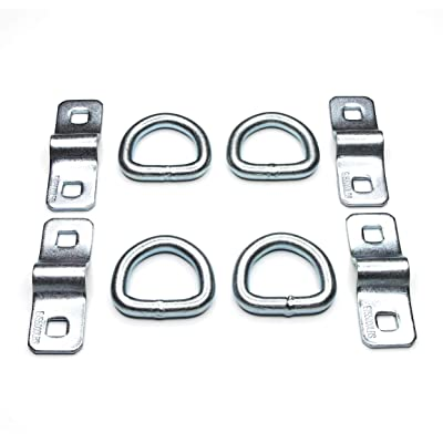 "WorldPac (Pack of 4) Heavy Duty 3/8"" 5,000lbs Anchor Point Surface Mount Tie Down D Ring: Automotive"