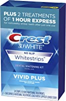 Crest 3D White Whitestrips Vivid Plus Teeth Whitening Kit, 24 Individual Strips (10 Vivid Plus Treatments + 2 1hr...