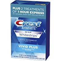 Crest 3D White Whitestrips Vivid Plus Teeth Whitening Kit, Individual Strips (10 Vivid Plus Treatments + 2 1hr Express…
