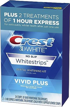 Crest 3D White Whitestrips Vivid Plus Teeth Whitening Kit, Individual Strips (10 Vivid Plus Treatments + 2 1hr Express Treatments), Basic Flavorless Whitestrips, 24 Count