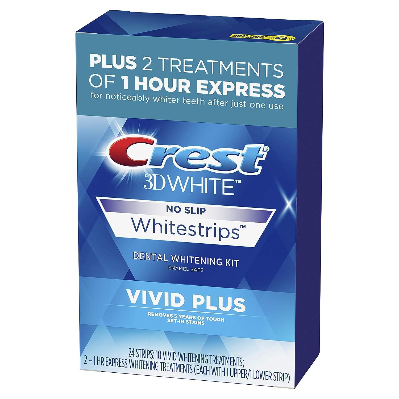 Amazon Com Crest 3d White Whitestrips Vivid Plus Teeth Whitening Kit 24 Individual Strips 10 Vivid Plus Treatments 2 1hr Express Treatments Basic Beauty