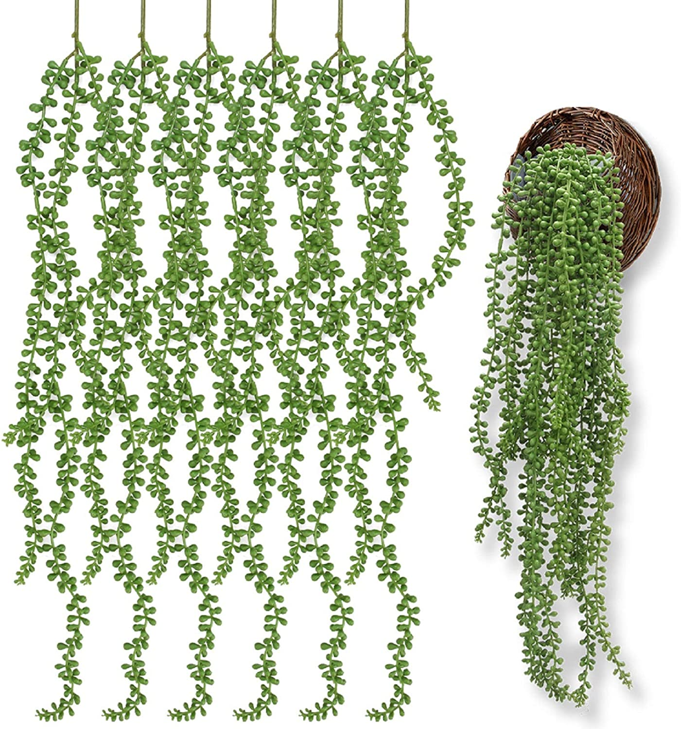 Attom Tech Home [6 Pcs] 26 inch Long Artificial Succulents Hanging Plants, Fake String of Pearls Bean Leaf