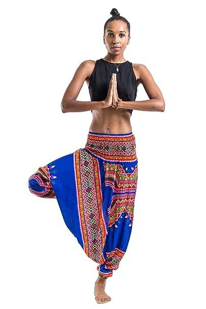 4336db92283 Harem Pants Unisex Dashiki Jumpsuit Harem Pants for Men   Women in Blue