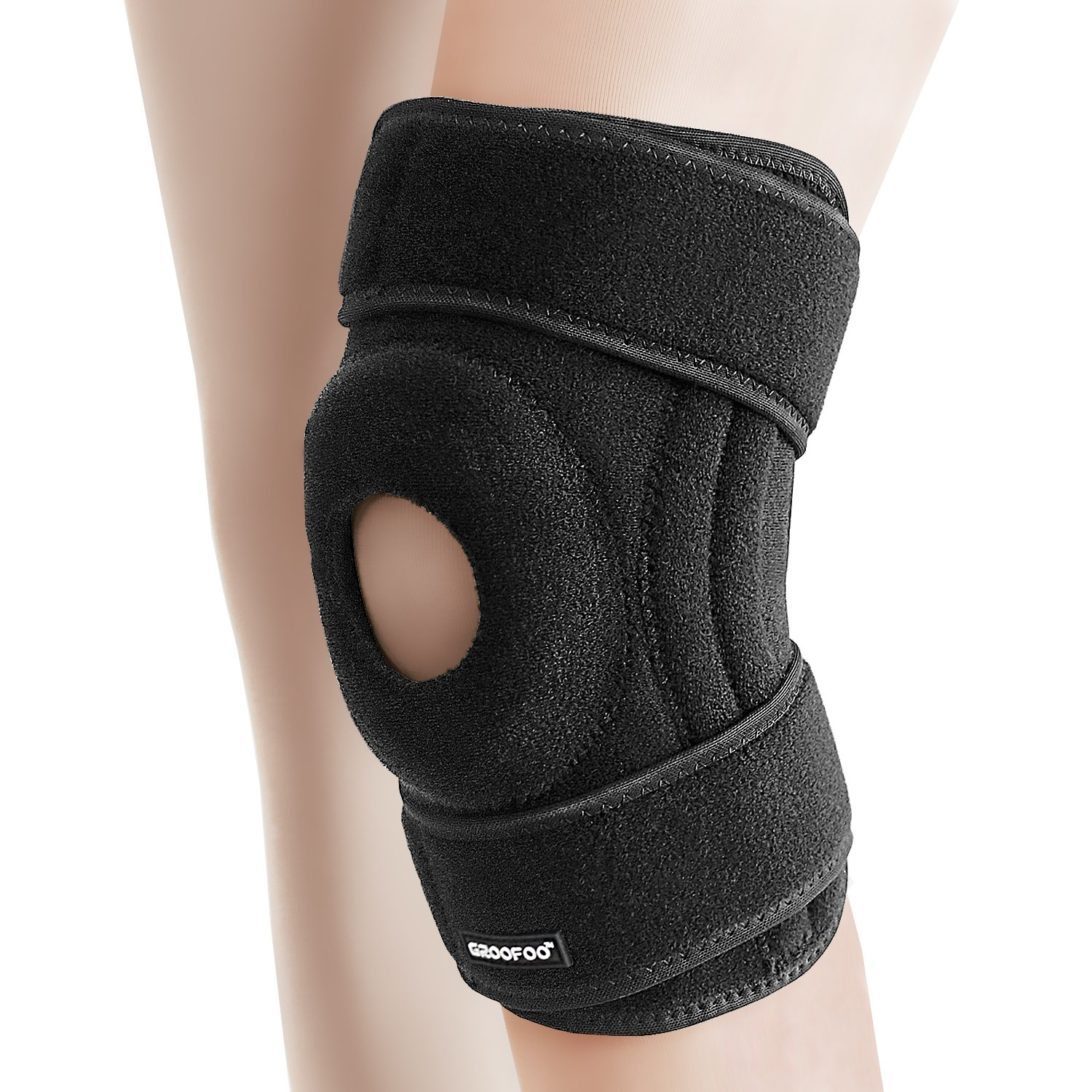 Knee Brace, GROOFOO [Hinged Knee Brace] [Knee Support] [Hinged Knee Brace]- Non Slip Comfortable Neoprene with 2 Strong Adjustable Velcro Grips- Insert a soft cushion ring for patella