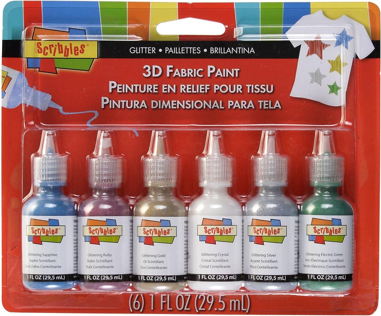 B001A38OKY Scribbles I Love to Create 3D Fabric Paint 1oz 6/Pkg-Glittering 81QKxxaIkaL