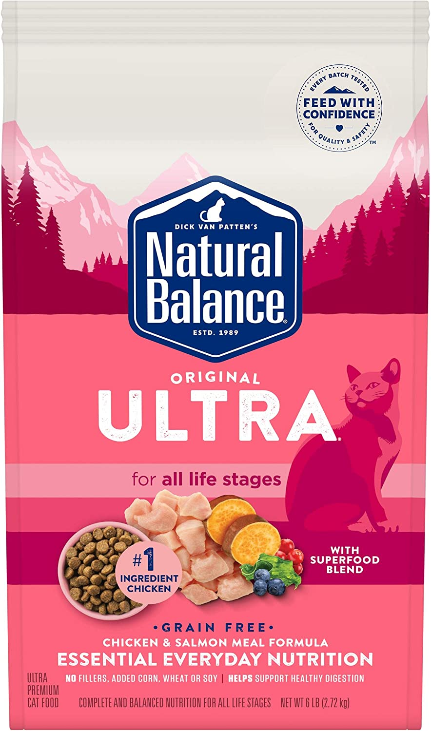 Natural Balance Original Ultra Dry Cat Food, Chicken & Salmon Meal, 6 Pounds, Grain Free, All Life Stages