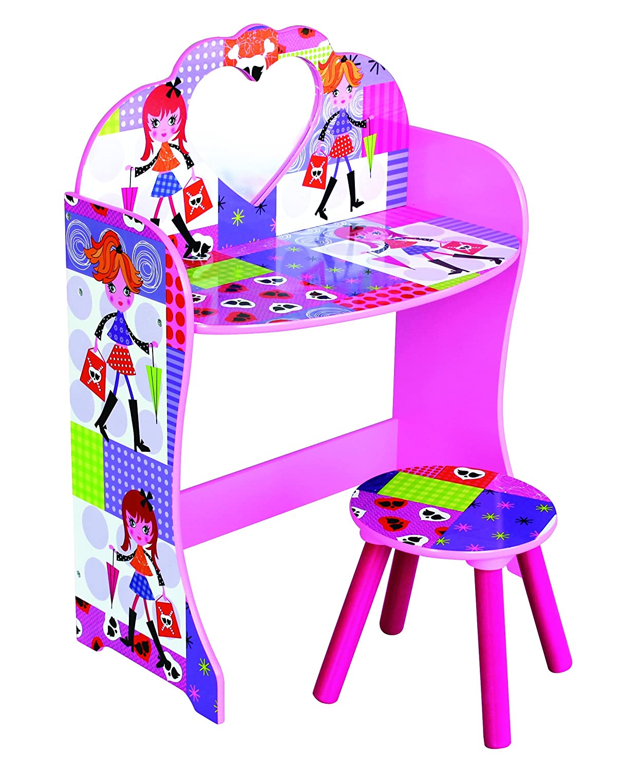 Children's Pink Fashion Doll Theme Dressing Table & Stool House of Creative Living