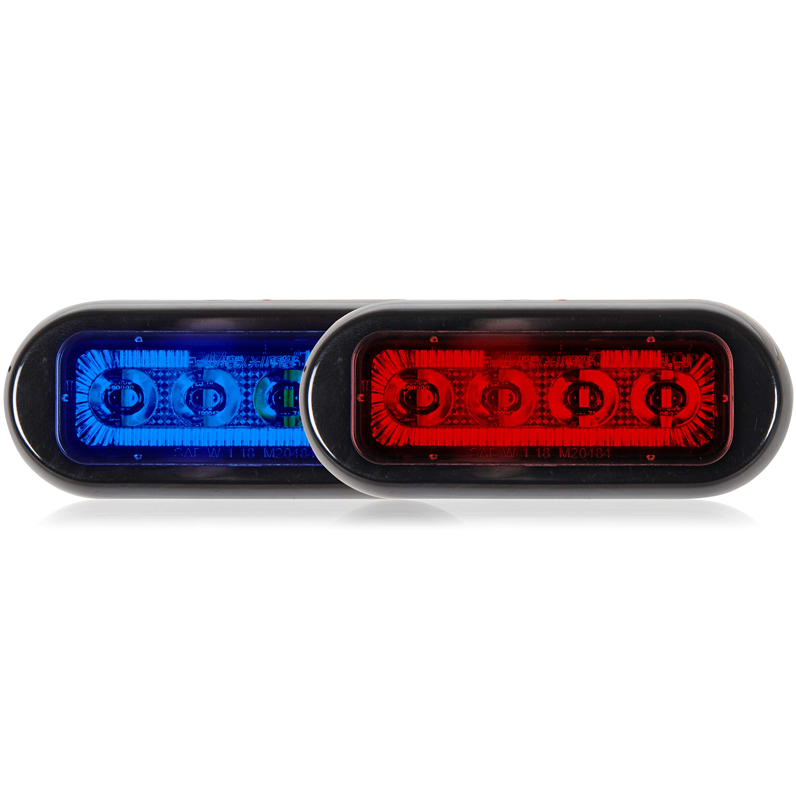 Maxxima M20484BRCL-DC 8 LED Rectangular Surface Mount Warning & Emergency Dual Color Blue/Red Clear Lens